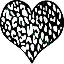Leopard print heart vinyl decal/sticker window laptop girl animal print 5x5
