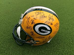 Team Signed Aaron Rodgers Green Bay Packers Signed Riddell Replica Helmet