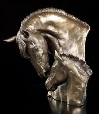 Pferde Büste - Stute mit Fohlen - David Geenty Wildpferde Reitsport Skulptur
