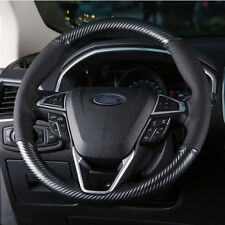 Black hole Leather Carbon Fiber Steering Wheel Stitch on Cover For Ford Edge