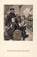 Die Auswanderer Kunstdruck 1929 von Hans Baluschek * Breslau Auswandern Bahnhof