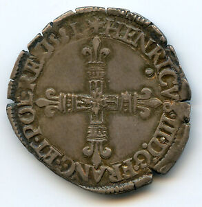 Henri IV (1589-1610) 1/8 Ecu 1581 T Nantes