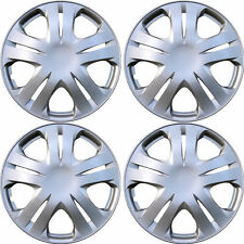 1020 Universal Wheel Cover ABS Wheel Skins Set Hub Caps Silver 15'' -Set of 4