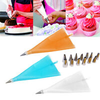 Set Of 16Pc Silicone Icing Piping Cream Pastry Bag +14PCS Stainless Steel Nozzle