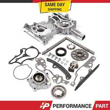 85-95 Toyota 22R 22RE Timing Chain Kit w/ 2 Metal Guides + Timing Cover Oil Pump