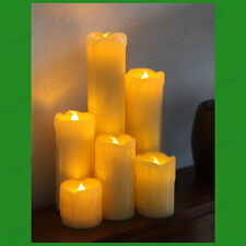 6x Amber Flicker Flame & Wax Drip Effect LED Candle Mood Light Set, Wax Finish