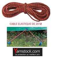 Câble élastique tendeur sandow  20 mètres diam 7mm pour bâches