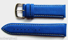 Authentic Locman 22mm BLUE Canvas & Leather Watch Strap with Buckle. NEW