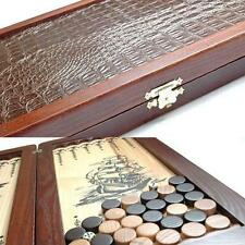 Frigate Ship Luxury Wooden Backgammon Set Leather Pieces Tournament Board New