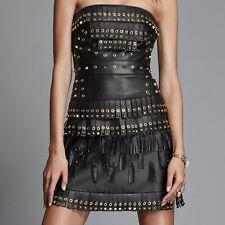 Women leather Crop top Steampunk leather dress Golden studded Top Tassel dress