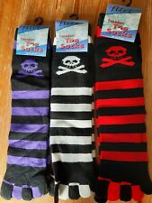 Striped toe socks one size lovely soft and comfy with skull and crossbones