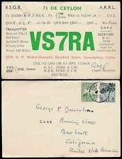 CEYLON NAWALAPITIYA RADIO HAM CARD VS7RA 1953 to CALIFORNIA USA