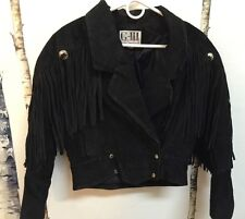 G-II Vintage Womens BLACK Fringe Western Lined Suede Motorcycle Jacket  Sz S