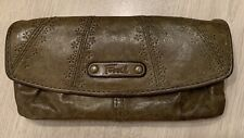 Fossil Soft Leather Envelope Wallet Clutch Purse Brown Vintage