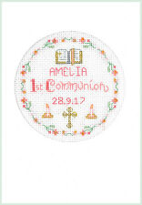 Cross stitch greeting card for a 1st Communion in pink - complete kit on 16 aida