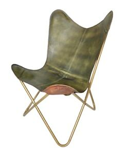 Handmade Folding Green Leather Butterfly Chair – Comfortable Office Chair S6-164