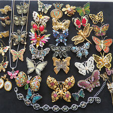 Huge Vintage Collection Rhinestone Enamel Cabochon Butterfly Mixed Lot Signed