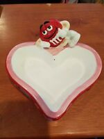 M&M Red on a Heart Shaped Candy Dish - Ceramic - Red Purple Pink - Galerie