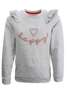 BNWT Girls Mothercare Grey Happy Frill Long Sleeve Jersey Sweat Shirt Jumper Top