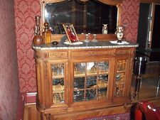 Atq 19th Century SIDEBOARD Hand Carved Cherry Wood Beveled Glass Doors/Mirror