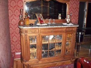 Antique Walnut SIDEBOARD/BUFFET c1800s Beveled Mirror/3Drawer/3Shelf/MarbleTop