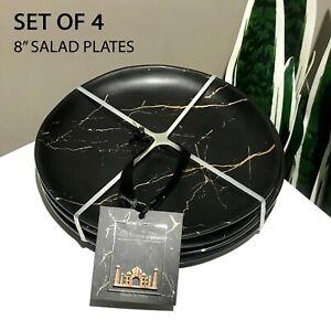 """SET OF 4 - New Art Deco Modern Black Gold Marble Melamine 8"""" Salad Plates Matte"""