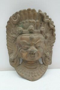 Vintage Old Handcrafted Brass Hindu Goddess Demon Face Mask Wall Hanging NH1031
