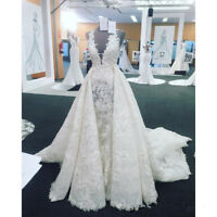 2019 Detachable Train White Ivory Lace Wedding Dresses Bridal Gown Custom 2-26++