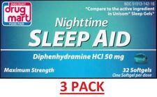 Generic Unisom Nighttime Sleep-Aid Diphenhydramine HCI 50 mg 96 Softgels Total