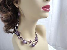 DABBY REID Purple Cat's Eye 3 Strand Necklace Bracelet & Earrings Set New