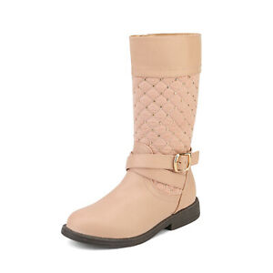 DREAM PAIRS Baby Toddler Girls Dress Up Flat Heel Knee High Riding Boots