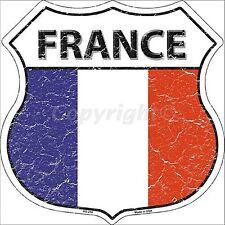 France Drapeau métal FORME BOUCLIER PANNEAU MURAL 290mm x 290mm (SB)