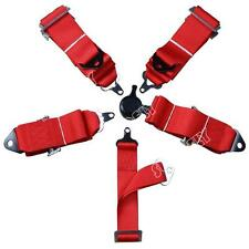 "Red Seat Belt 5 Point Motorsport Racing Harness Kit With Quick Release 3"" Straps"