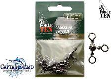 BLACK BARREL CROSSLINE SWIVELS SIZE:4 QTY:8PCS FORCE TEN FISHING TACKLE 8421