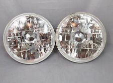 "7"" Round Halogen Conversion Chrome Housing DiamondHeadlights Replacement Glass"
