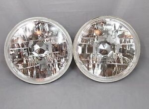 "7"" Round Halogen Conversion Chrome Housing Diamond Headlights Replacement Glass"