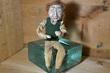 Vintage Folk Art Toy Detailed Newspaper Inners Halloween Scary Primitive Doll