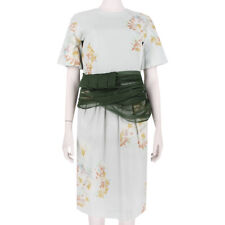 Dries Van Noten Floral Watercolour Dark Green Sash Waist Sheath Dress FR40 UK12