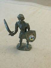 "Pewter knight sword crystal Ab 2 1/2"" Fantasy Figurine with unique flaw"