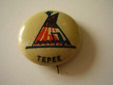 Collectible Pinback Vintage Illustration Teepee Red Blue Off-white