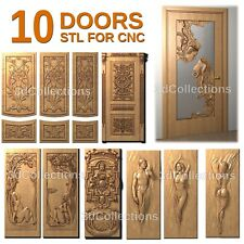 3d stl model cnc router artcam aspire 10 pcs pack collection door basrelief