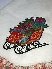 Vintage Christmas Tree Skirt Tex Fiber, Sequin Decals, Vintage Christmas Ruffle