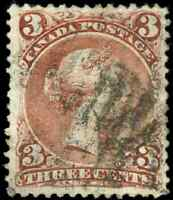 Canada #25 used VF 1868 Queen Victoria 3c red Large Queen CV$50.00