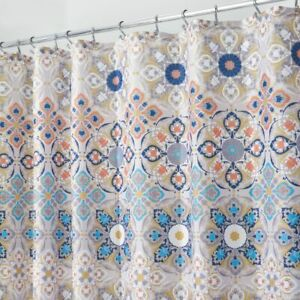 "mDesign Fabric Shower Curtain, Medallion Print, 72"" x 72"" - Tan/Coral/Blue"