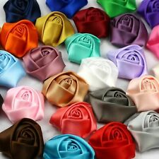 "28 Colors 1.5"" 10Pcs Satin Ribbon Flower Rose Appliques Sewing Craft Supplies"