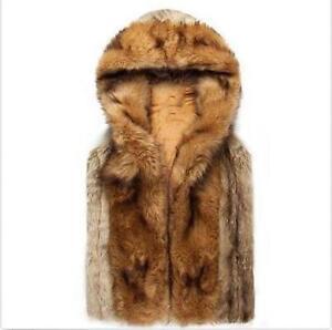 Men's Fur Leather Hooded Vest Mens Sleeveless Outerwear Coat Jacket Tops New W33