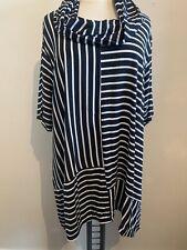 LA BASS Streifen Shirt Tunika Gr 46-50 Schal schwarz weiß gestreift halber Arm