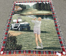Ladies Tour Golf ~ Golfer Tapestry Afghan Throw