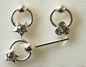 STERLING SILVER NOSE STUD WITH SLAVE HOOP WITH TRIPLE C/Z OR STAR C/Z 0909
