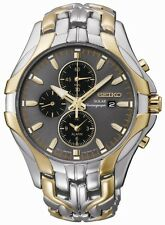Brand New Seiko SSC138  Solar Two Tone Stainless Steel Chrono Mens Watch